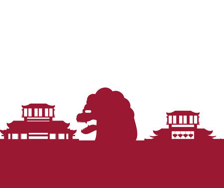 chinese lion statue with buildings vector illustration design