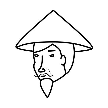 head of old man chinese peasant vector illustration design