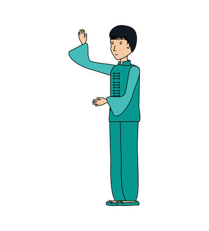 chinese man with traditional costume vector illustration design