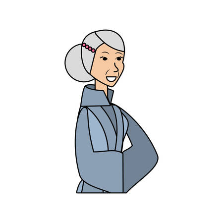 chinese old woman avatar character vector illustration design Illustration
