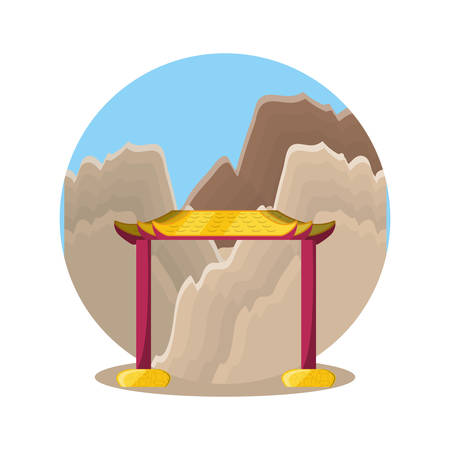 chinese portal with landscape isolated icon vector illustration design