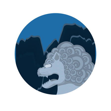 chinese lion statue with night landscape vector illustration design Illustration