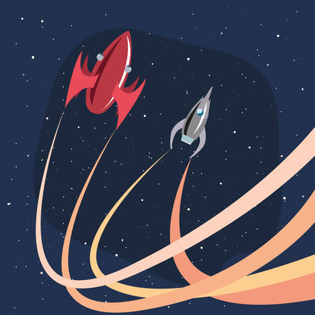 space ships launching space travel vector illustration Illustration