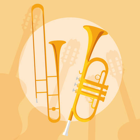 trumpets instruments musical icons vector illustration design