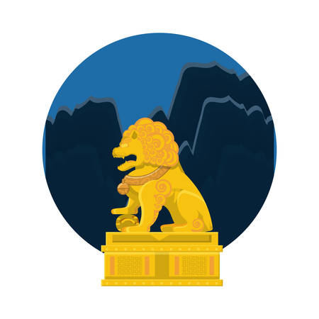 chinese lion statue in gold with night landscape vector illustration design Vettoriali