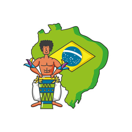 map of brazil with man brazilian vector illustration design