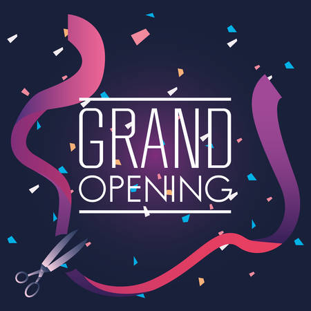 commercial grand opening scissors vector illustration design