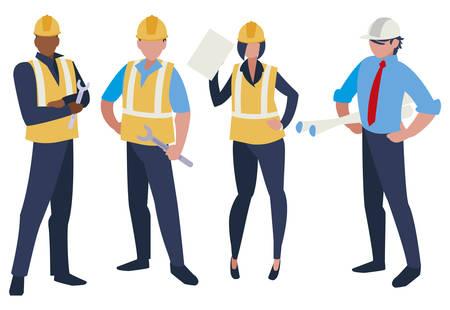 group of builders working vector illustration design