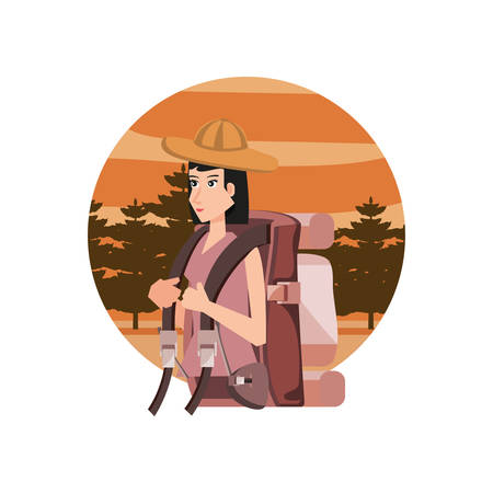 traveler woman with travel bag and landscape character vector illustration design
