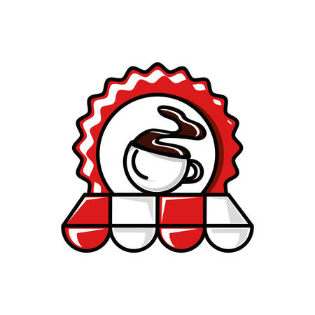 seal with coffee cup and parasol vector illustration design