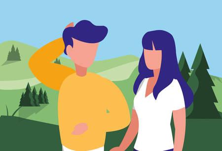 young couple in forest landscape scene vector illustration design