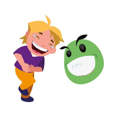 boy and emoji april fools day vector illustration