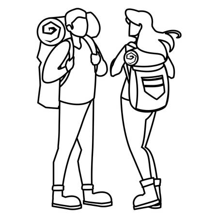 adventurous couple with travelbag vector illustration design