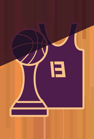 basketball tank top sport jersey trophy vector illustration