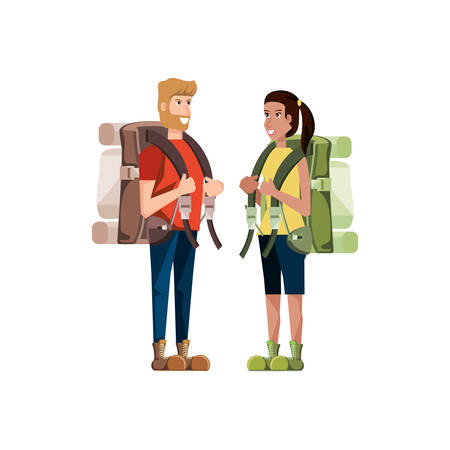 couple traveler avatar character vector illustration design Illusztráció