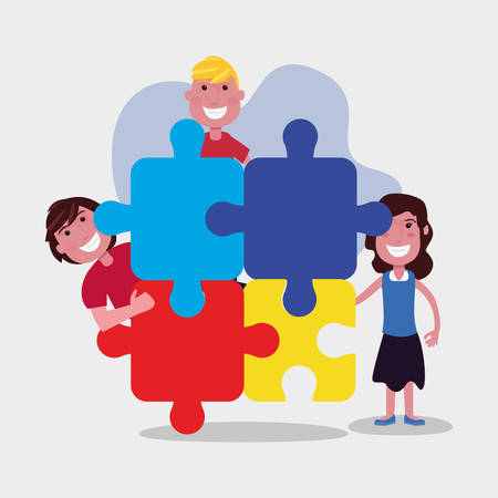 autism awareness day boys and girl with puzzles vector illustration