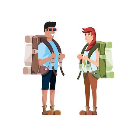 couple traveler avatar character vector illustration design Ilustração