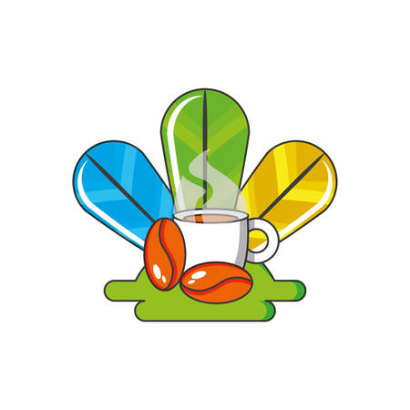 cup coffee with grains and feathers decoration vector illustration design