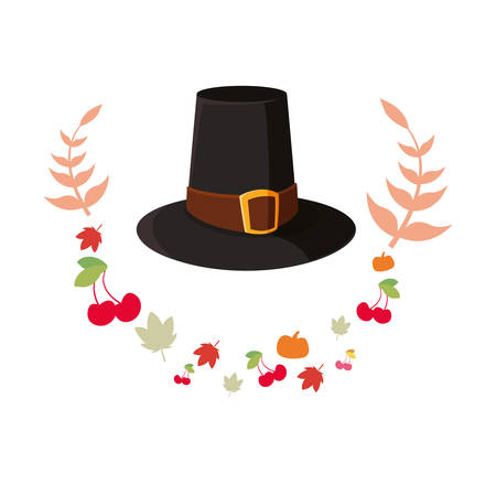 pilgrim hat thanksgiving celebrate leaves vector illustration