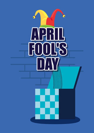 april fools day prank box poster vector illustration Ilustração