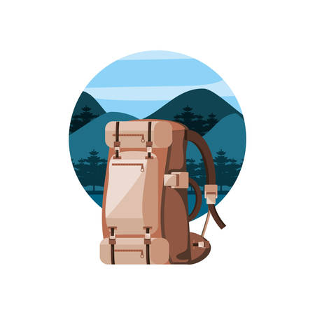 camping bag with landscape isolated icon vector illustration design Stock Illustratie
