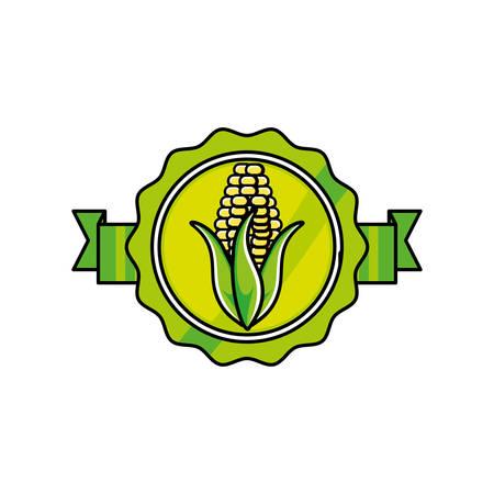 fresh corn vegetable seal stamp vector illustration design Illustration