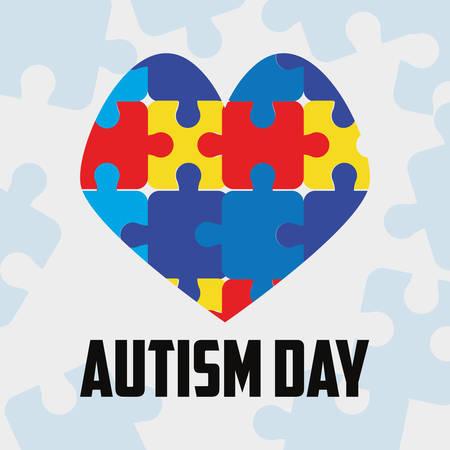 heart shaped puzzles autism day vector illustration Ilustracje wektorowe