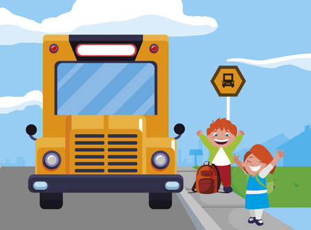 happy little school kids in the bus stop vector illustration design Ilustracja