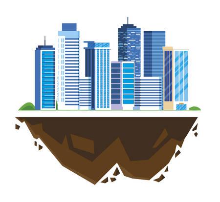 urban buildings in terrain ground vector illustration design