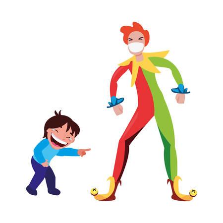 boy jester april fools day vector illustration