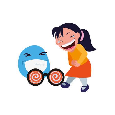 girl emoji face april fools day vector illustration