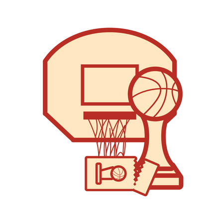 basketball sport trophy hoop ticket vector illustration