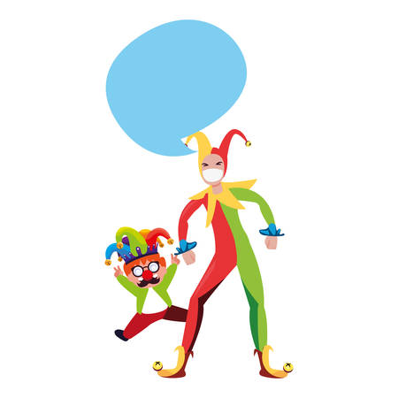 boy with jester hat april fools day vector illustration