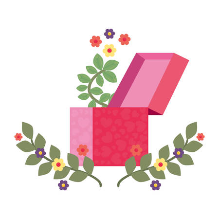 gift box flowers romantic vector illustration Vetores