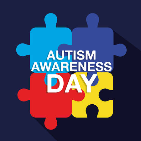 colored puzzles autism awareness day campaign vector illustration
