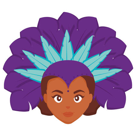 beautiful brazilian garota head character vector illustration design
