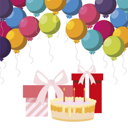 gift box present with balloons helium and sweet cake vector illustration design Vector Illustratie