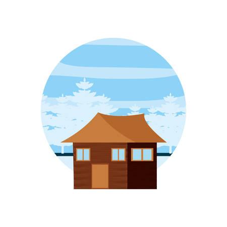 log cabin wooden in frame circular vector illustration design Illustration