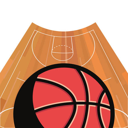 basketball sport ball court floor vector illustration