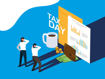 businessmen in tax day with envelope and icons vector illustration design Stock Illustratie