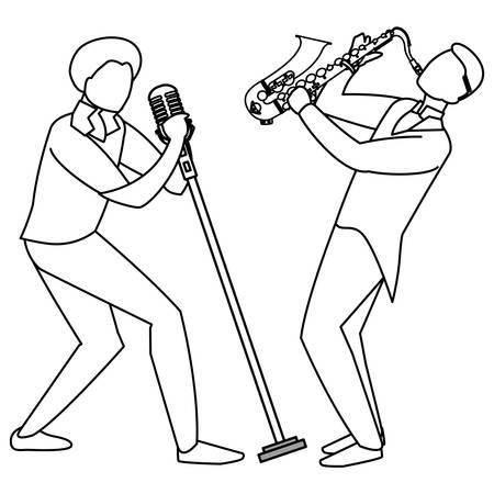 Sänger und Musiker paar Charaktere Vector Illustration Design Vektorgrafik