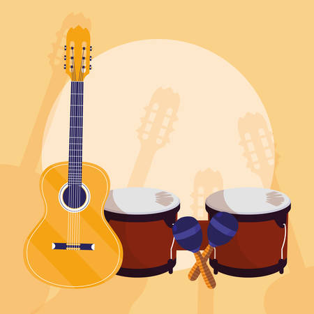 guitar and timbals instruments musical vector illustration design Illustration