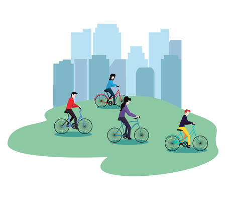 people riding bikes in the park city activities vector illustration