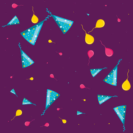 pattern of party hats with balloons helium vector illustration design