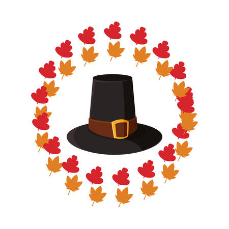 pilgrim hat thanksgiving celebrate leaves decoration vector illustration