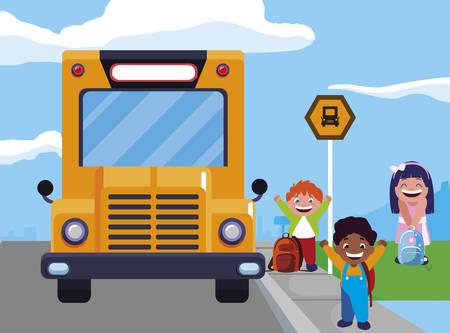 happy little interracial school kids in the bus stop vector illustration design Ilustracja