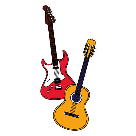 guitar electric and acoustic instruments vector illustration design Vettoriali