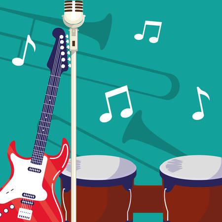 chitarra elettrica e strumenti microfonici illustrazione vettoriale design