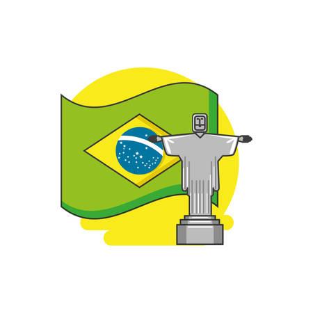 flag of brazil with corcovado christ vector illustration design
