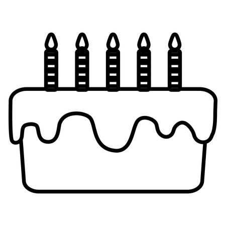 sweet birthday cake with candles vector illustration design Çizim